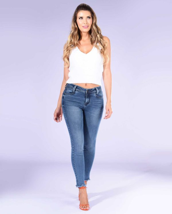 Jean Skinny con destroyed en bota SJ Basic