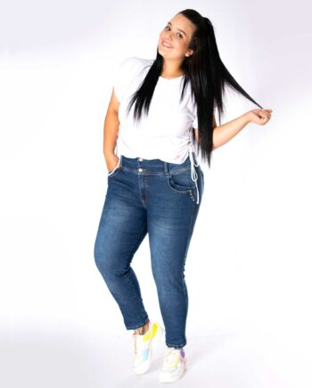 Jean plus size con bolsillo decorado